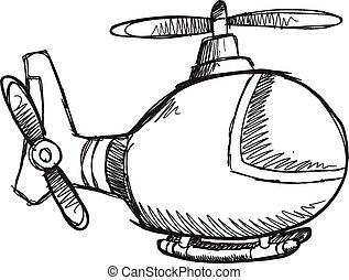 Doodle Sketch Helicopter Vector art - Doodle Sketch ...