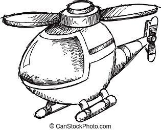 Doodle Sketch Helicopter Vector Illustration Art