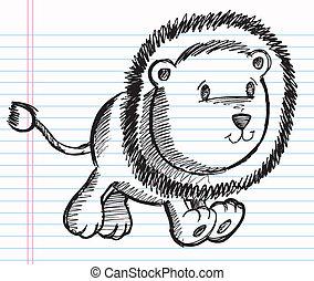 Doodle Sketch Lion Vector Art