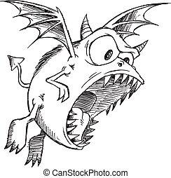 Doodle Sketch Monster Demon Vector