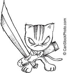 Doodle Sketch Ninja Cat Vector