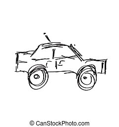 Doodle sketch of a fast moving car