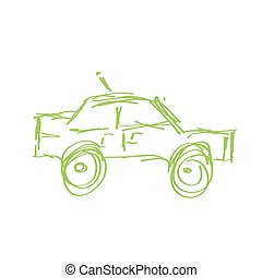 Doodle sketch of a fast moving green car