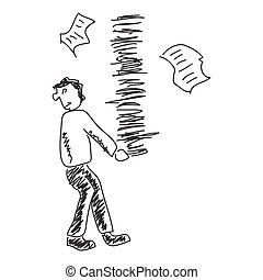 Doodle sketch of a man carrying paperwork on white background