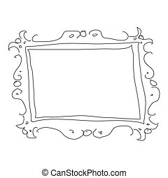 Doodle sketch of a picture frame on white background