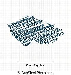 Doodle sketch of Czech Republic map