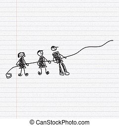Doodle sketch of people pulling a rope on paper background