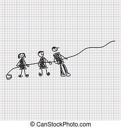 Doodle sketch of people pulling a rope on graph paper background