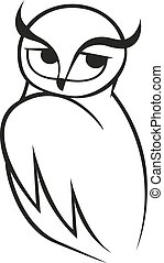 Doodle sketch of wise owl