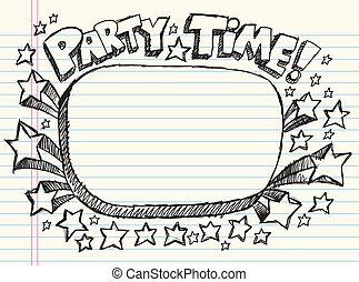 Doodle Sketch Party Time Frame