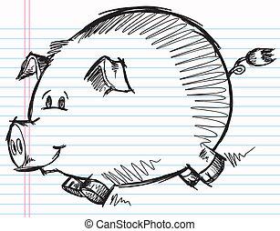 Doodle Sketch Pig Vector