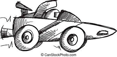 Doodle Sketch Race Car Vector art