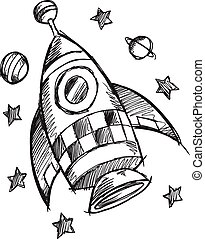 Doodle Sketch Rocket Vector art - Doodle Sketch Rocket ...
