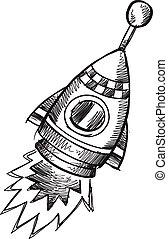 Doodle Sketch Rocket Vector art