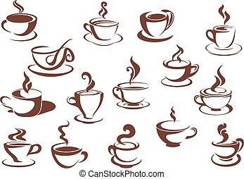 Doodle sketch set of steaming hot beverages - Doodle sketch...