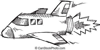 Doodle Sketch Shuttle Rocket Vector