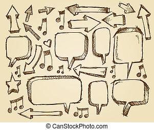 Doodle Sketch Speech Bubble Arrows