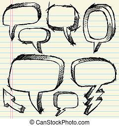 Doodle Sketch Speech Bubble set