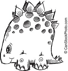 Doodle Sketch Stegosaurus Dinosaur