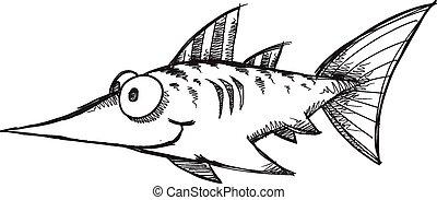 Doodle Sketch Swordfish Vector art - Doodle Sketch Swordfish...