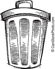 Doodle Sketch Trash Can Vector - Doodle Sketch Trash Can...