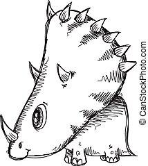 Doodle Sketch Triceratops  Dinosaur