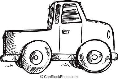 Doodle Sketch Truck Vector art - Doodle Sketch Truck Vector ...