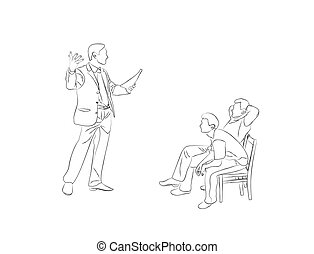 Doodle Sketch two men sit on chairs and listen to the...