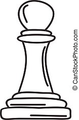 doodle sketch vector pawn chess