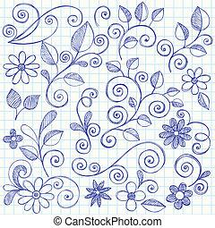 doodle, sketchy, bladeren, swirls