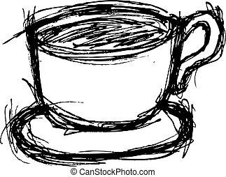 doodle, sketchy, café, estilo