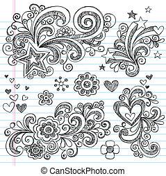 doodle, sketchy, communie, ontwerp, set