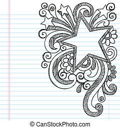 doodle, sketchy, gwiazda budowa, obraz