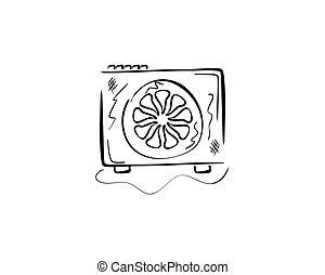 doodle sketchy illustration of a fan