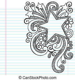 doodle, sketchy, ster vensterraam, afbeelding