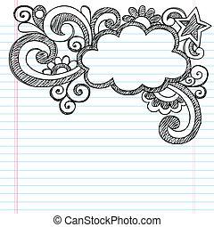 doodle, sketchy, ułożyć, chmura, obraz