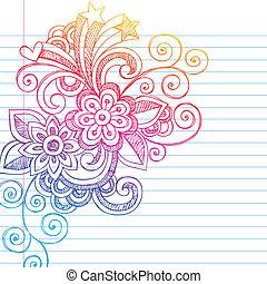 doodle, sketchy, vector, bloemen