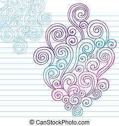 doodle, sketchy, vector, ontwerp, swirls
