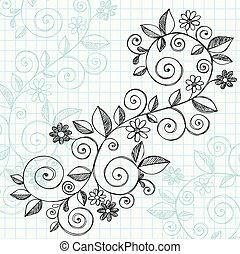 doodle, sketchy, vector, ontwerp, wijngaarden