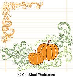 doodle, sketchy, vector, pompoennen, herfst
