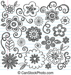 doodle, sketchy, vector, set, bloemen