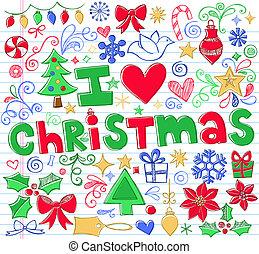 doodle, sketchy, vector, set, kerstmis
