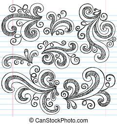 doodle, sketchy, vector, set, swirls