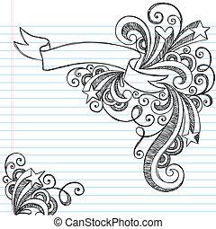 doodle, sketchy, vector, spandoek, boekrol
