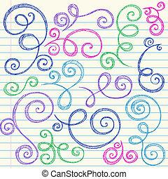 doodle, sketchy, vektor, sæt, swirls