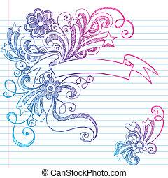 doodle, sketchy, vetorial, bandeira, scroll