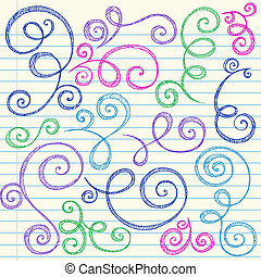 doodle, sketchy, vetorial, jogo, redemoinhos