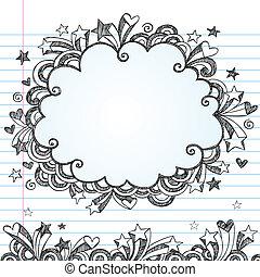 doodle, sketchy, vetorial, quadro, nuvem
