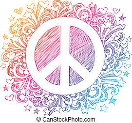 doodle, sketchy, vetorial, sinal paz