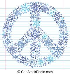 doodle, sketchy, vrede, sneeuwvlok, meldingsbord